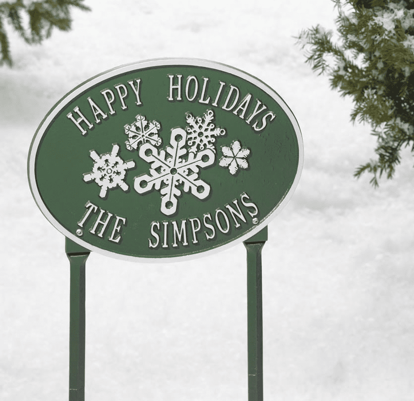 Snowflake Oval Winter Holiday Plaque