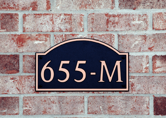 Standard Long Arch Composite Plastic Address Plaque