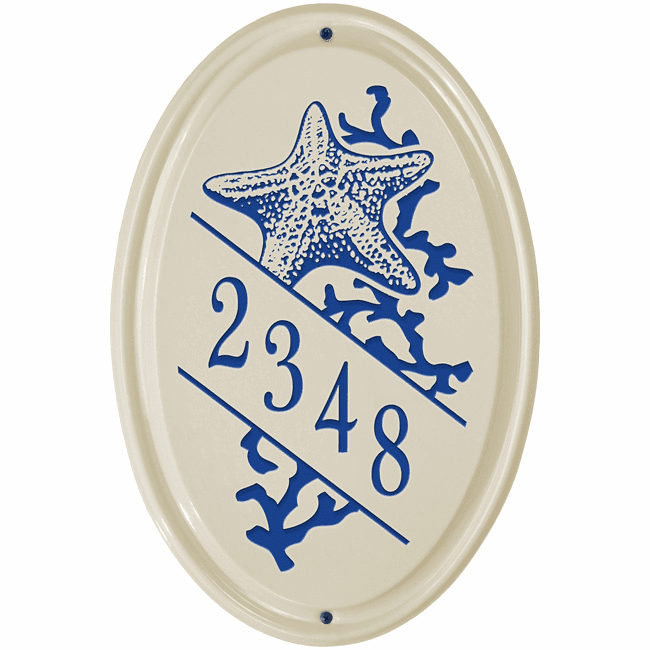 Star Fish Vertical Oval Ceramic Wall Address Plaque