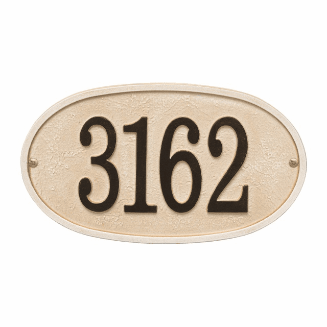 Stonework Oval House Number Wall Plaque