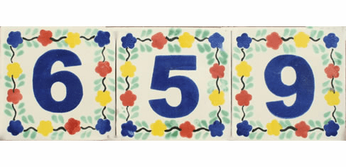 Talavera Tile House Number, 6 inches