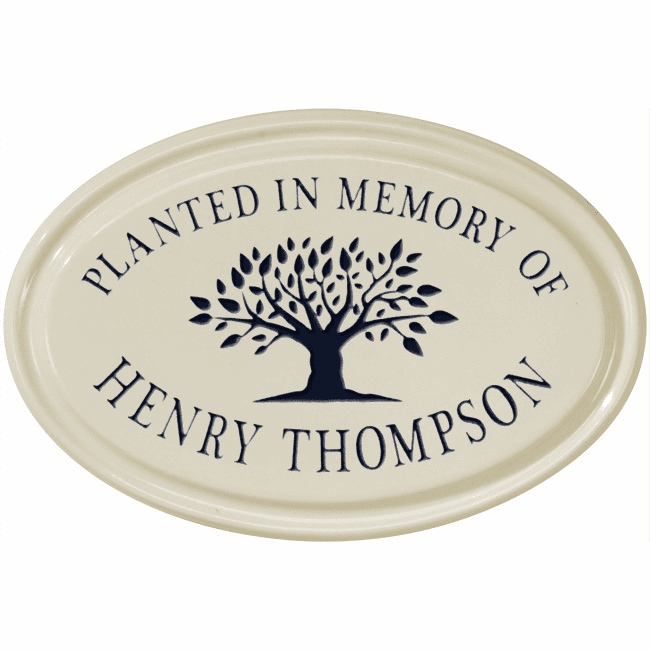 Tree Memorial Oval Petite Ceramic Address Plaque