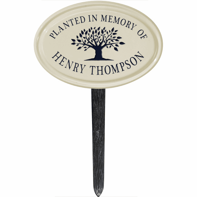 Tree Memorial Oval Petite Ceramic Lawn Address Marker
