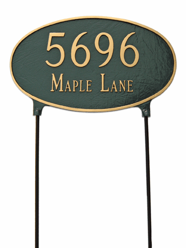 Two Sided Large Oval Lawn Address Plaque