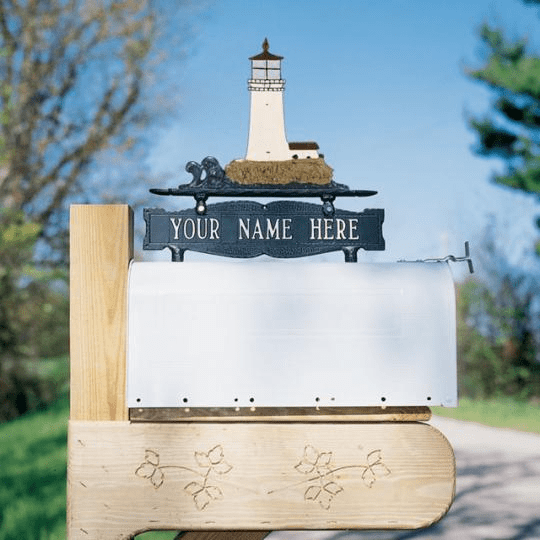 Two-Sided Mailbox Sign With Lighthouse 1 Line