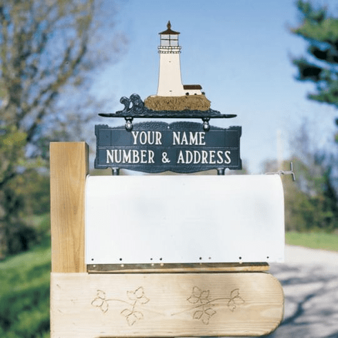 Two-Sided Mailbox Sign With Lighthouse 2 Line