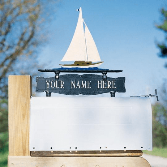Two-Sided Mailbox Sign with Sailboat 1 Line