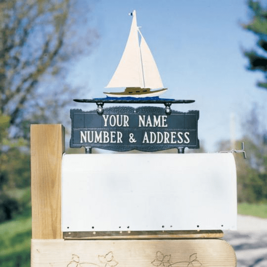 Two-Sided Mailbox Sign with Sailboat 2 Line