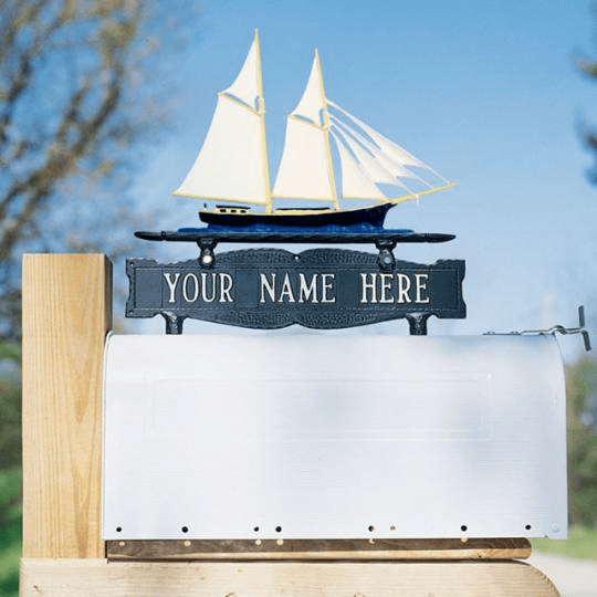 Two-Sided Mailbox Sign With Schooner 1 Line
