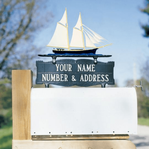 Two-Sided Mailbox Sign with Schooner 2 Line