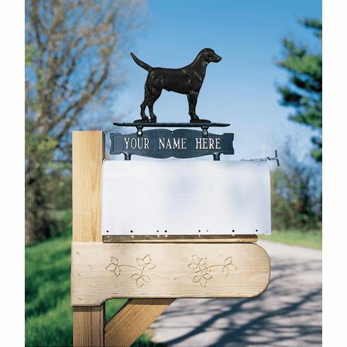 Two-sided One Line Mailbox Sign with Black Lab