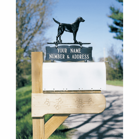 Two-sided Two Line Mailbox Sign with Black Lab