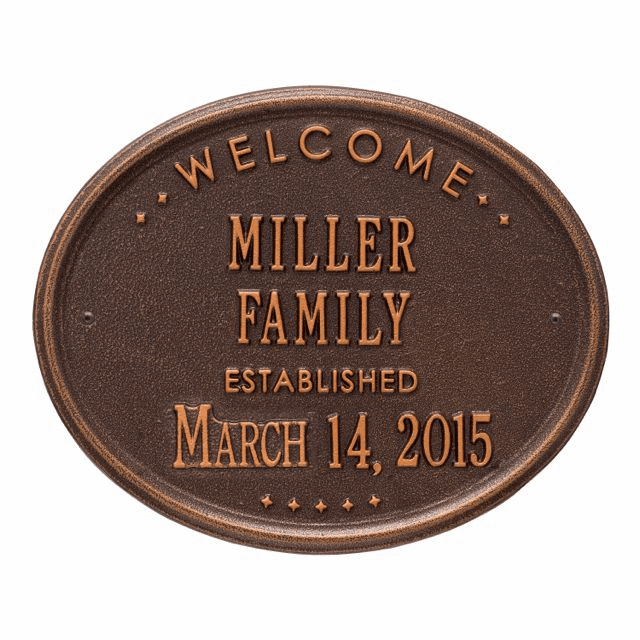 Welcome Oval Family Plaque