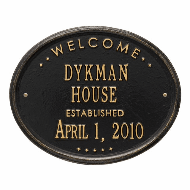 Welcome Oval House Plaque