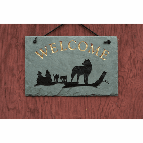 Wolf Slate Welcome Sign