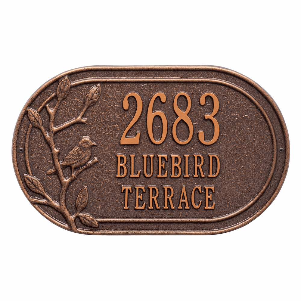 Woodbridge Bird Oval Three Line Address Plaque