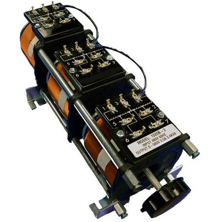 Staco 1020B-3 - Variable Transformer, 3 Phase WYE input, 3.5Ao, 0-480Vo, 2.91kVA, Open, Panel Mt