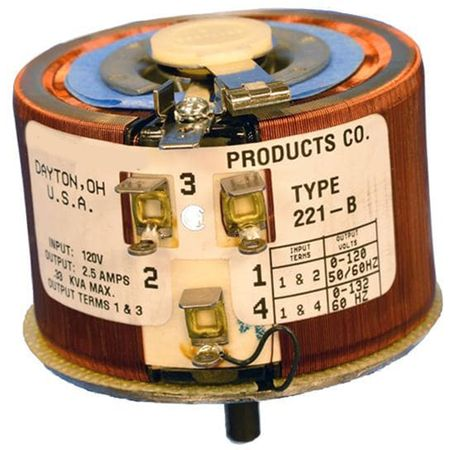 Staco 221-B - Variable Transformer, Single Phase, 3.2Ao, 0-120Vo, 0.3kVA, Open, Panel Mt