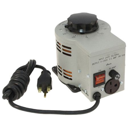 Staco 3PN1020B - Variable Transformer, Single Phase, 3.5Ao, 0-280Vo, 0.98kVA, Plug and Cord, Cased, Bench