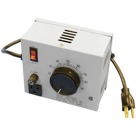Staco 3PN221B - Variable Transformer, Single Phase, 2.5Ao, 0-132Vo, 0.33kVA, Plug and Cord, Cased, Bench