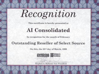 Outstanding Reseller Award for 1999 for A-I Consolidated