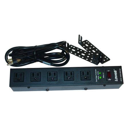 Lowell ACS-1505-SW-SD Power Strip-15A 5 Outlets 6ft cord 2-stage Surge Supp switch brackets