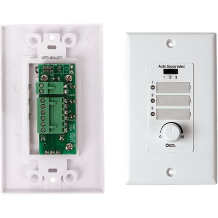 Atlas Sound WPD-MIX42RT - Wall Plate Input Select Switch, Volume Control 10k Pot with System Indicator