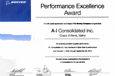 Boeing 2010 Silver Performance Excellence Award