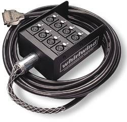 Whirlwind DBB1-F-010 - Cable - DB25 male to stage box w/ (8) XLRF gold, Avid / Tascam analog pinout, 10 feet, Canare MR202-8AT