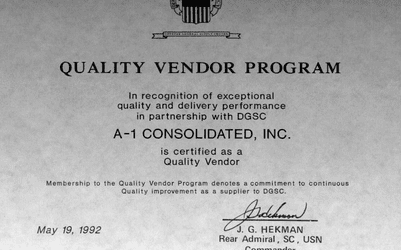 DOD Quality Vendor Award 1992 for A-I Consolidated