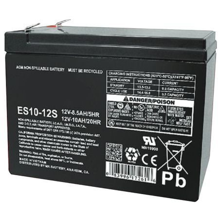 MK Battery ES10-12S - 12 Volts, 10 Amp Hours (20 Hours) Small Sealed Battery