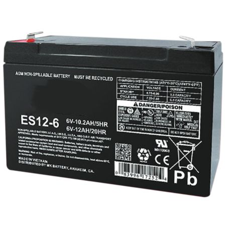 MK Battery ES12-6 - 6 Volts, 12 Amp Hours (20 Hours) Small Sealed Battery