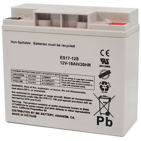 MK Battery ES17-12S - 12 Volts, 18 Amp Hours (20 Hours) Small Sealed Battery