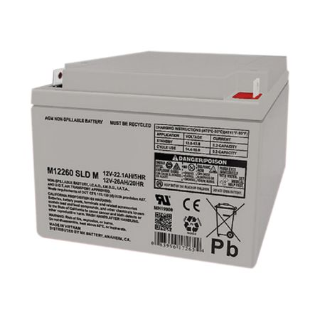 MK Battery ES26-12 - 12 Volts, 26 Amp Hours (20 Hours) Small Sealed Battery