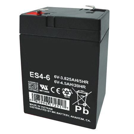 MK Battery ES4-6 - 6 Volts, 4.5 Amp Hours (20 Hours) Small Sealed Battery