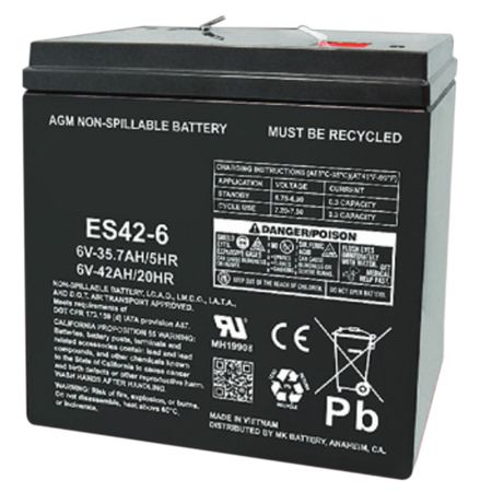 MK Battery ES42-6 - 6 Volts, 42 Amp Hours (20 Hours) Small Sealed Battery