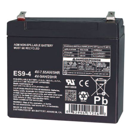 MK Battery ES9-4 - 4 Volts, 9 Amp Hours (20 Hours) Small Sealed Battery