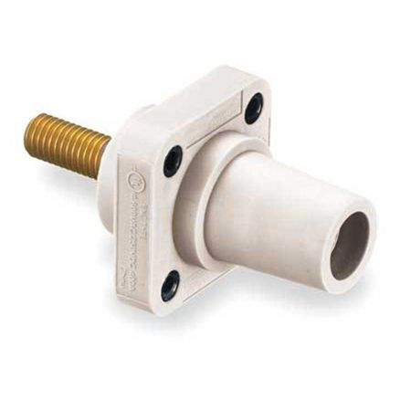 Hubbell HBLFRSW - AC - Connector, 16 Series Cam-Type, chassis, female, threaded stud, white