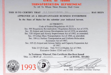 IDT DBE 1993 Award for A-I Consolidated