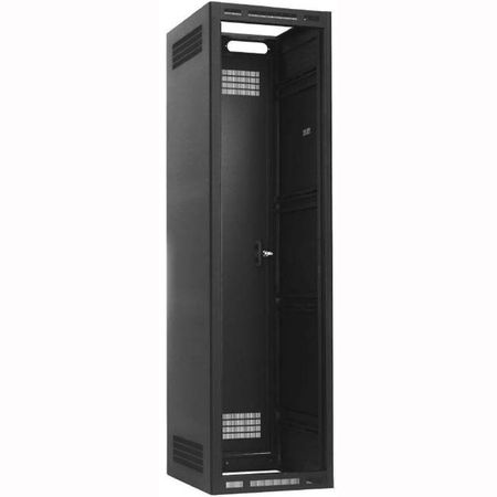 Lowell LER-4022-LRD Rack-Enclosed-40U 22in Deep 1pr Adj Rails Less Rear Door Black