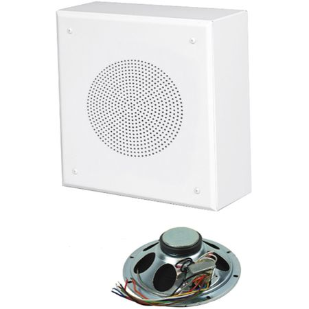 Lowell DSQ-805-72 Speaker Package-8in Spkr Wall Mount 12W 5W 70/25V xfmr White Grille Backbox