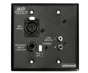 Whirlwind MIPAID - 1 gang black wall plate, power supply not included.