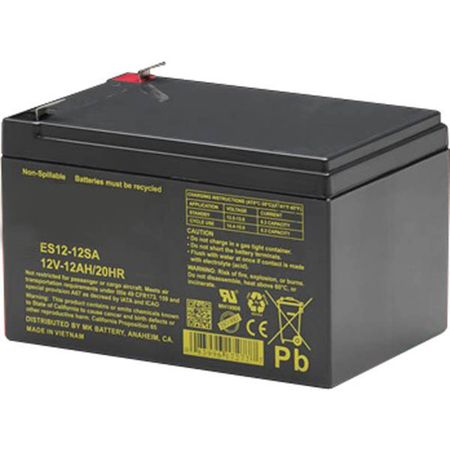 MK Battery ES12-12SA - 12 Volts, 12 Amp Hours (20 Hours) Small Sealed Battery