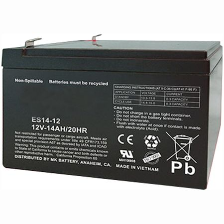 MK Battery ES14-12 - 12 Volts, 14 Amp Hours (20 Hours) Small Sealed Battery