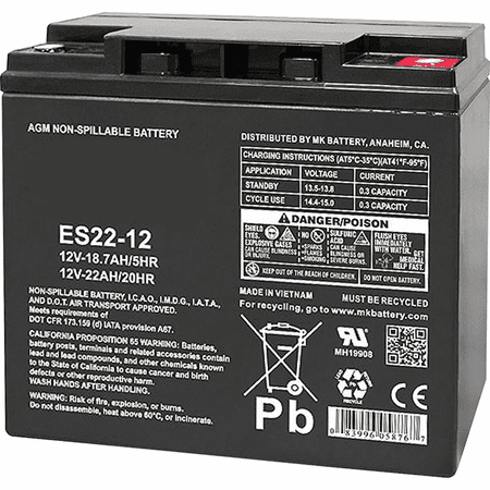 MK Battery ES22-12 - 12 Volts, 22 Amp Hours (20 Hours) Small Sealed Battery