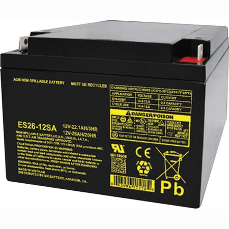MK Battery ES26-12SA - 12 Volts, 26 Amp Hours (20 Hours) Small Sealed Battery
