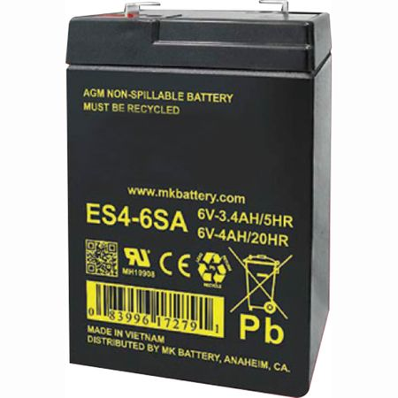 MK Battery ES4-6SA - 6 Volts, 4 Amp Hours (20 Hours) Small Sealed Battery