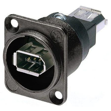 Whirlwind NA1394-6B - Connector - firewire, 6-position, chassis, feed-thru, black, Neutrik