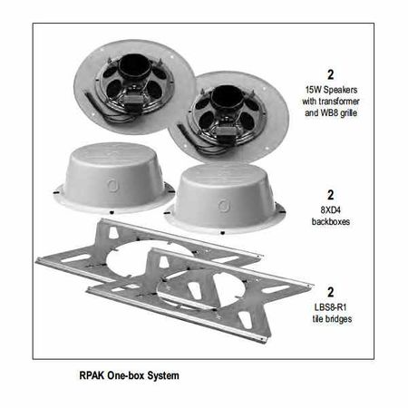 Lowell RPAK-810-72 Speaker Package-8in Spkr 5W 70/25V xfmr Can Tile Bridge Grille (2)ea