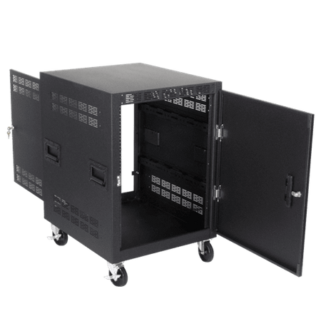 "Atlas Sound RX14-25SFD - 25"" Deep, 14RU Mobile Equipment Rack Includes: Casters, Side Handles, and Solid Doors"